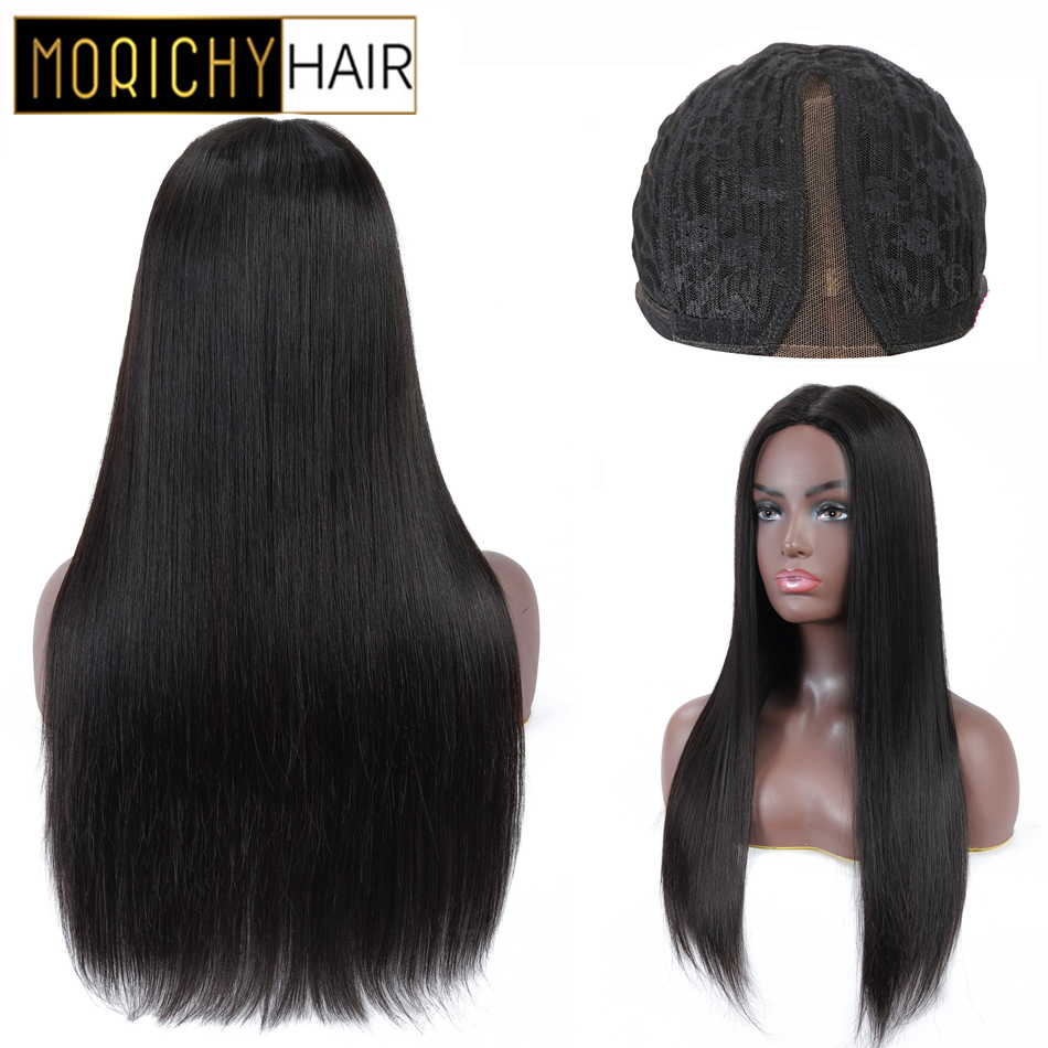 Morichy Straight Part Lace Wigs Peruvian Non-Remy Human Hair Wigs Natural Black For Woman 150% Density Glueless Wigs For Female