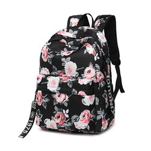 Fashion Water Resistant Nylon Women Backpack Flower Printing Female School Rucksack Girls Daily College Laptop Bagpack balang brand unisex water rsistant laptop backpack boys and girls portable travel backpacks fashion college school bag rucksack