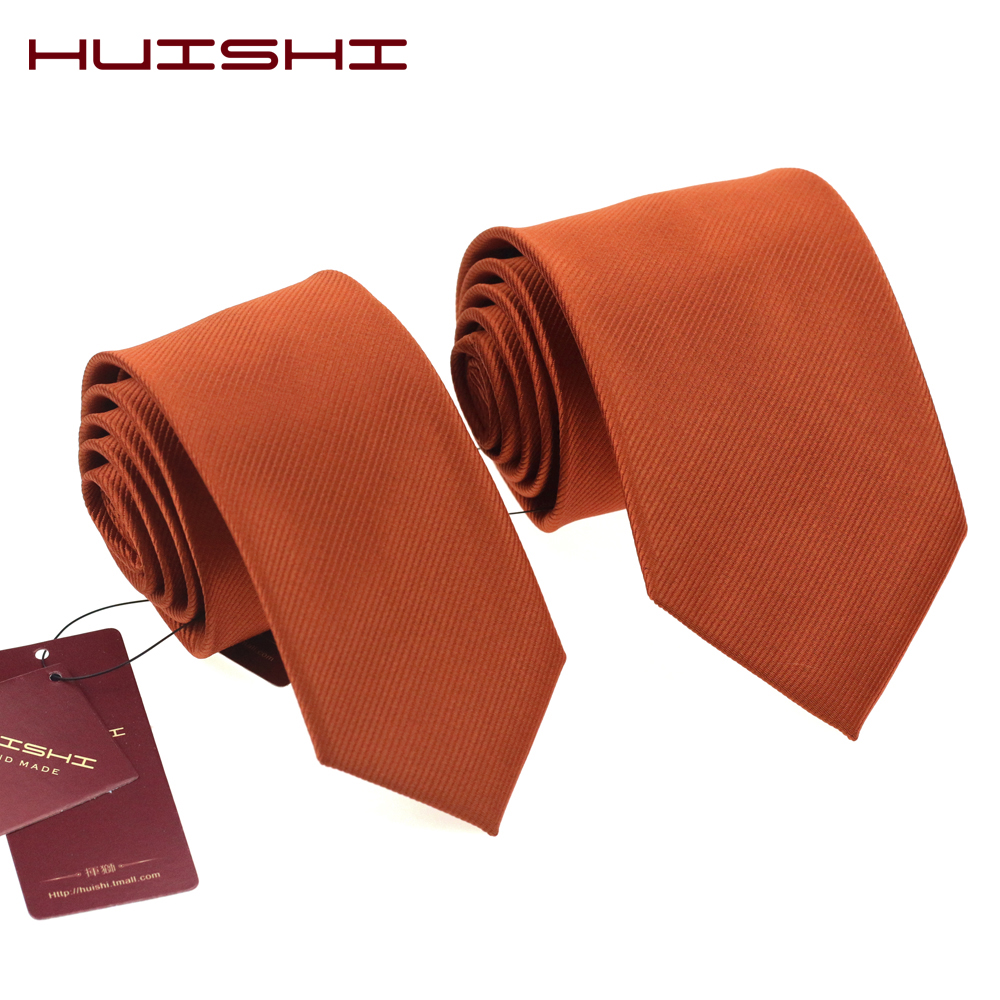 HUISHI Fashion Man New Classic Dark Orange Tie 6cm 8cm Striped Woven Waterproof Business Wedding Party Casual Necktie