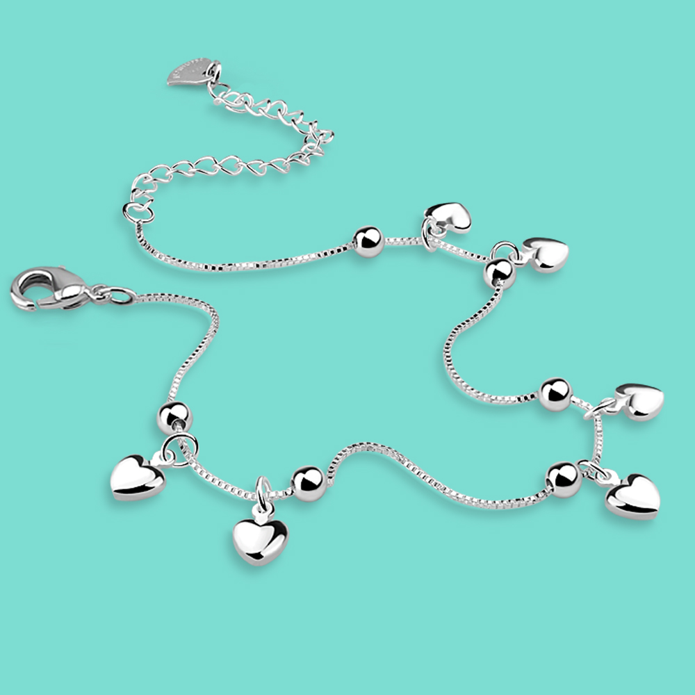 New 925 sterling silver Anklets for women simple Heart pendant silver chains Necessary summer collocation ornaments Gift giving