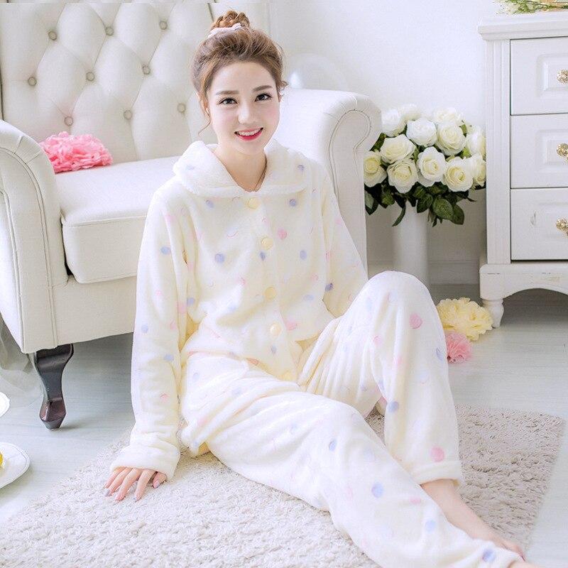 Casual Flannel 2PCS Sleep Set Pijamas Lady Pajamas Suit Sleepwear Homewear Coral Fleece Winter Warm Nightwear Home Clothing