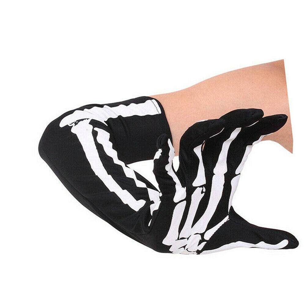 Hirigin Adult Party Costume Halloween Ghost Gothic Black Skull Skeleton Bone Long Gloves Arm Warmer