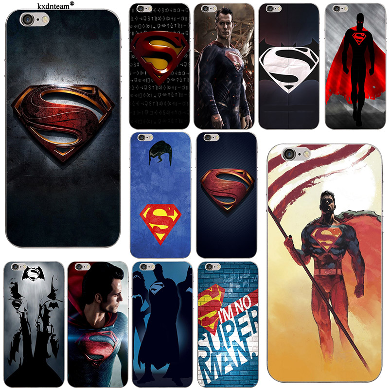 Marvel Hero Superman Soft Silicone TPU Phone <font><b>Cases</b></font> for <font><b>iPhone</b></font> 8 7 6 6S Plus <font><b>X</b></font> 5 5S SE 5C 4 Coque Transparent Anti-knock Cover image