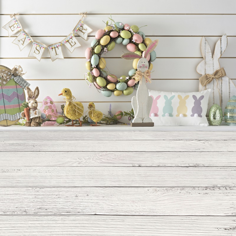 Easter Backgrounds For Photography Rabbit Bunny Chicken Eggs Gray Wooden Floor Baby Party Portrait Photo Backdrops Photo Studio image