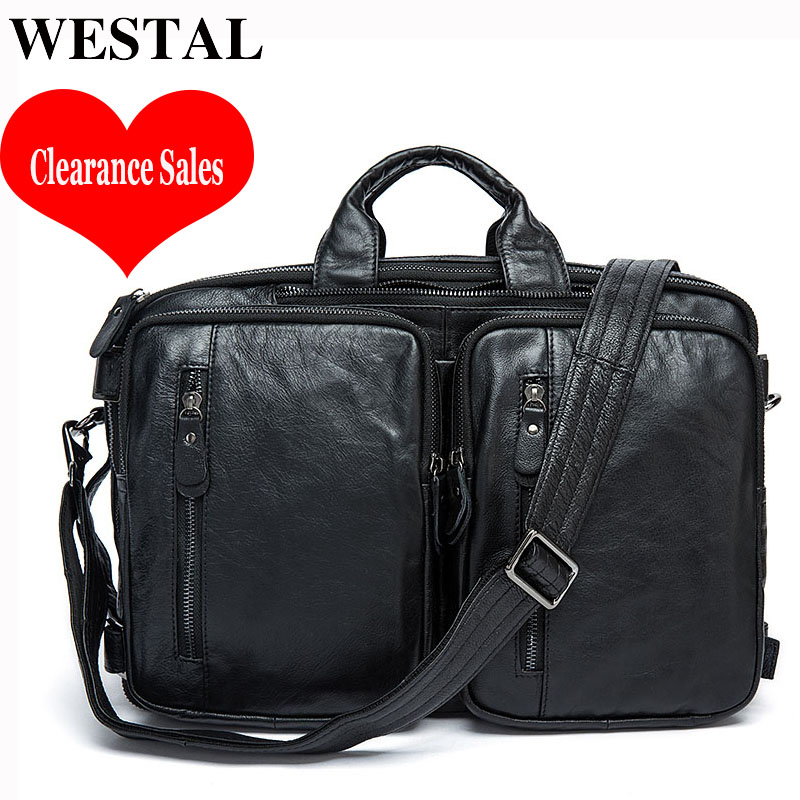 WESTAL Clearance Sale Men's Briefcase Bag Men's Genuine Leather Office Bags For Men Laptop Bag Leather Briefcases Computer Bags