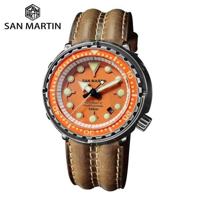 San Martin Dive Retro Schwarz Rüstung THUNFISCH männer Automatische Mechanische Uhr 30 Bar Wasserdichte Edelstahl Sapphire Datum Fenster