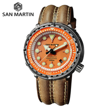 San Martin nurkowanie Retro czarny tuńczyk pancerz męski automatyczny zegarek mechaniczny 30 Bar wodoodporna stal nierdzewna szafirowe okno daty