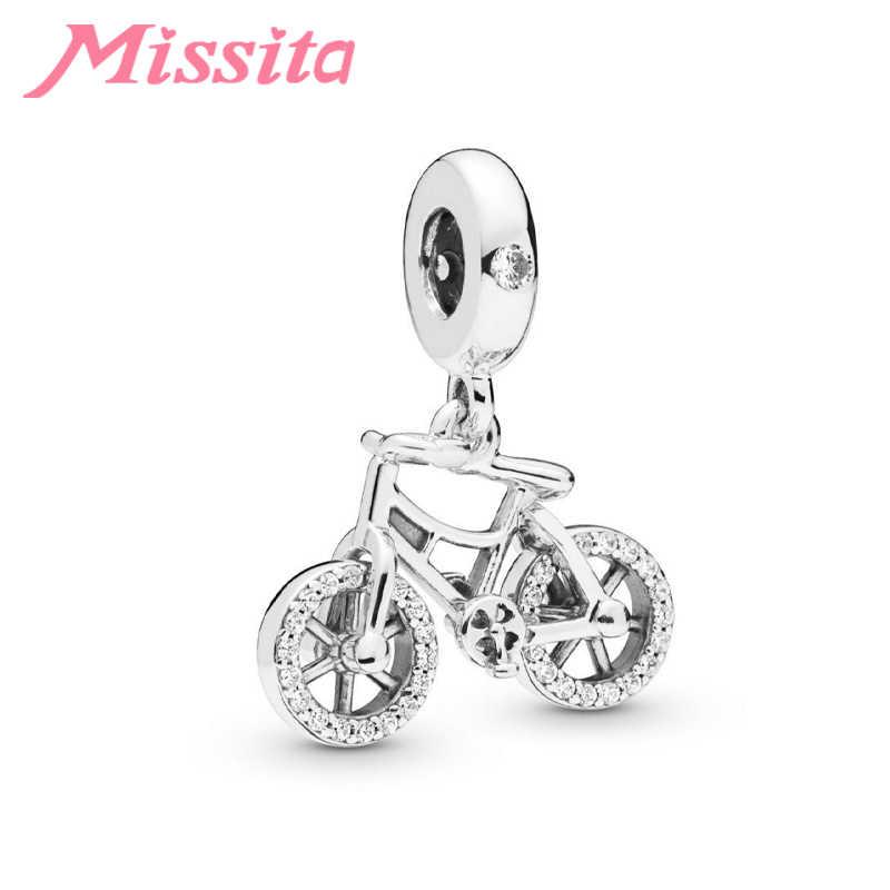 MISSITA רומנטי זעיר אופניים תליון קסמי fit פנדורה צמידי שרשראות עבור תכשיטי ביצוע גבירותיי תכשיטי אבזרים