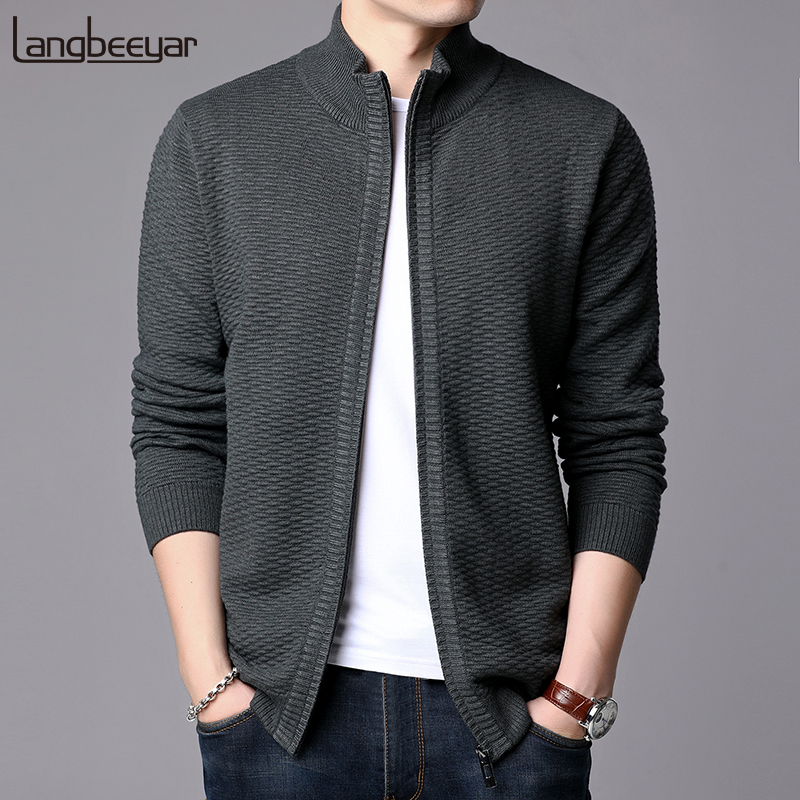 New Fashion Jackets Mens Stand Collar Cardigan Trend Streetwear Overcoat Winter Slim Fit Windbreaker Casual Coat Men Clothing