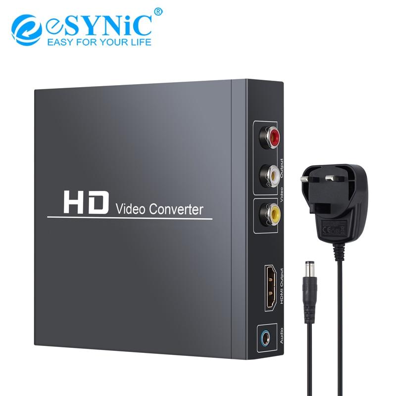 Compatible HDMI eSYNiC avec convertisseur HDMI compatible RCA adaptateur Audio vidéo Composite 3RCA CVBS AV prise en charge 1080P PAL NTSC