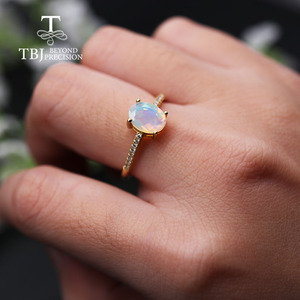 Image 4 - Simple  Opal women Ring Natural Ethiopia oval 6*8mm 1carat gemstone 925 Sterling silver  yellow gold fine jewelry tbj promotion