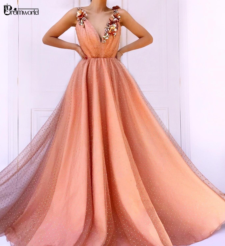 Abendkleider Orange fleurs Appliques a-ligne robes de bal longue Sexy col en v bretelles sans manches Tulle Sequin robe de soirée 2019