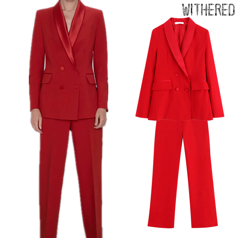 Withered Two Piece Set Women England Vintage Velvet Stitching Party Double Breasted Shawl Collar Blazer Women Suits Pants Women