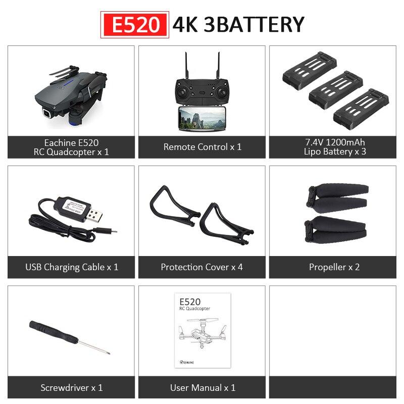 Eachine E520S E520 gps FOLLOW ME wifi FPV Квадрокоптер с 4 K/1080 P HD широкоугольная камера Складная Высота удержания прочный Радиоуправляемый Дрон - Цвет: E520 4K 3Batteries
