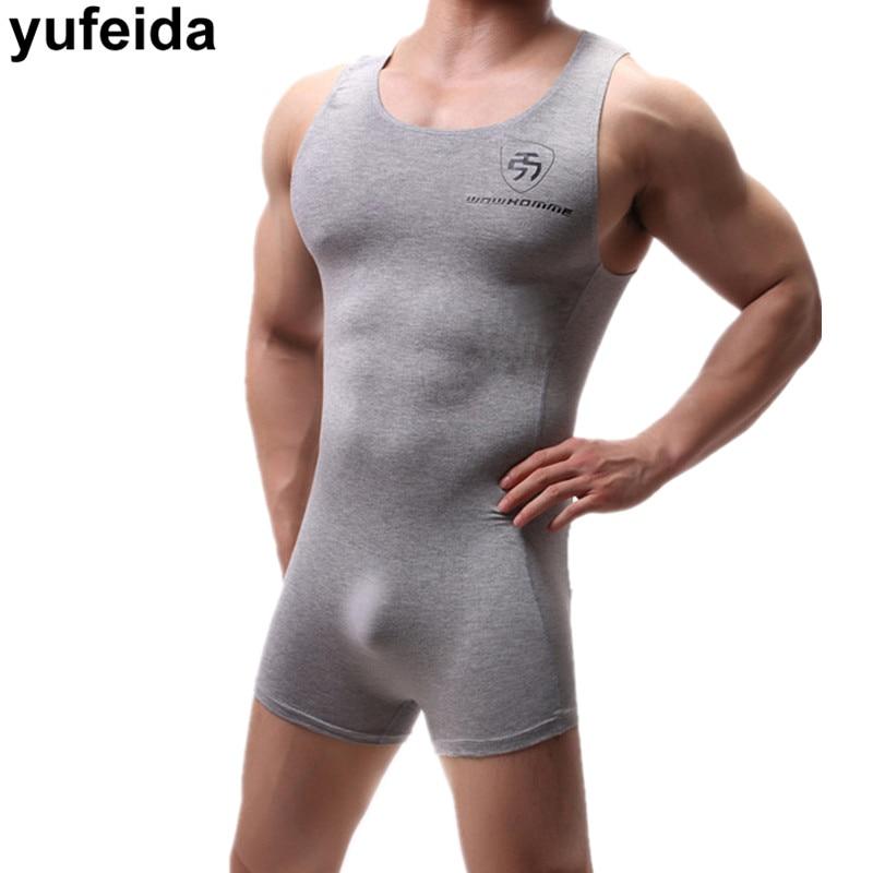 Sexy Mens Undershirts One-piece Leotard Sports Bodysuits Jumpsuits Swimwear Wrestling Singlet Underwear Penis Pouch Boxer Shorts