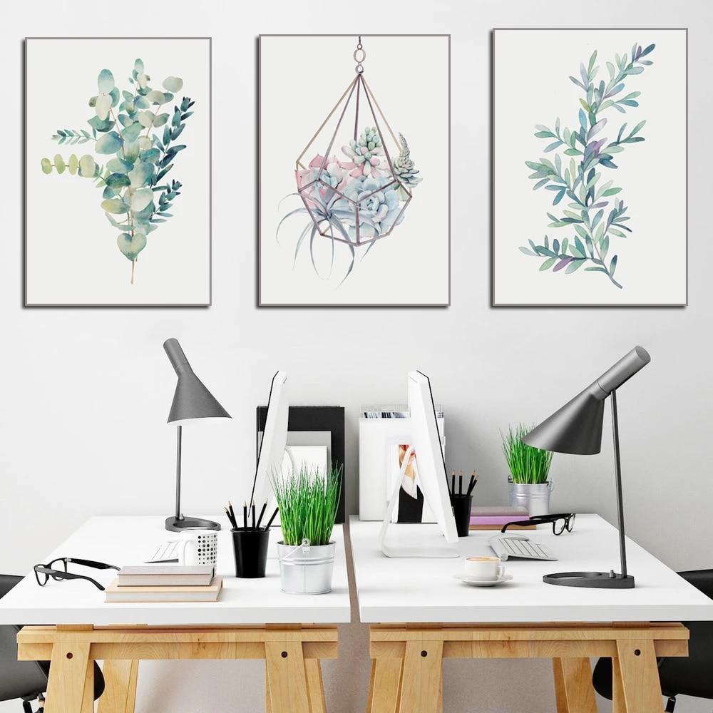 Succulent Plants Nordic Poster Painting Leaf Cactus Flower Canvas Wall Art Decor