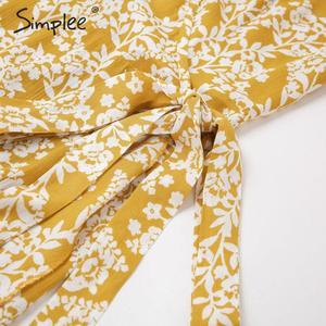 Image 5 - Simplee 여성 v 목 프린트 드레스 봄 여름 프릴 슬리브 포장 boho 드레스 휴일 숙녀 세련된 벨트 파티 드레스 vestidos