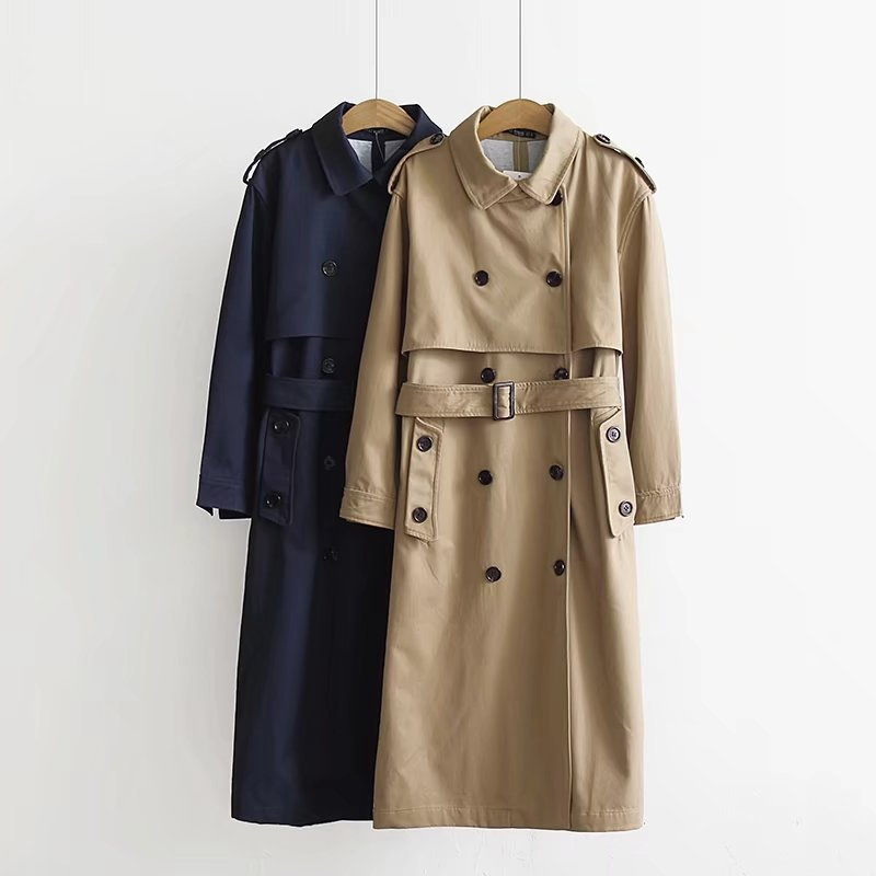 Women Khaki Long Trench Coat With Sashes Buttons 2020 Autumn Winter Office Ladies Turndown Neck Loose Outwear Double Breasted
