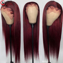 KungGang 99j Straight Lace Front Wigs Human Hair Wigs Brazilian Front Wigs 150% Density With Baby Hair Non-Remy
