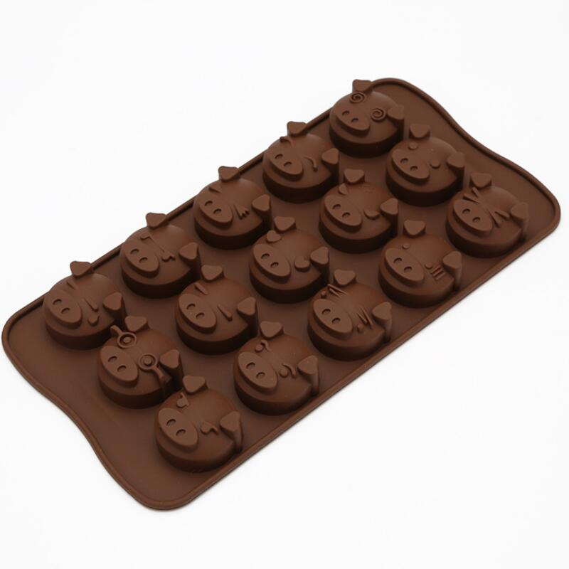15 Holes Funny Pig Silicone Mold Fondant Mould Kitchen Chocolate Cookies Cake Soap Candy DIY Mold LX8712