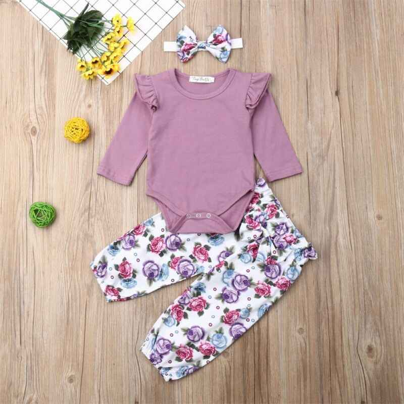 3PCS Newborn Baby Girls Clothes Set Cute Cotton Casual Baby Tops Bodysuits+Floral Pants+Headband Outfits Suit Autumn Kid Costume