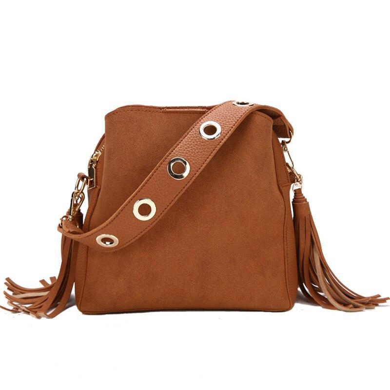 Bucket-Bag Crossbody-Bag Vintage Tote Messenger-Bag High-Quality Women Tassel Fashion