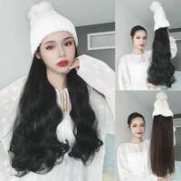 MUMUPI, длинные кудрявые синтетические волосы, парик, зимняя эластичная вязаная шапка, шапка бини, Вязанная, шапка для катания на лыжах для дево...