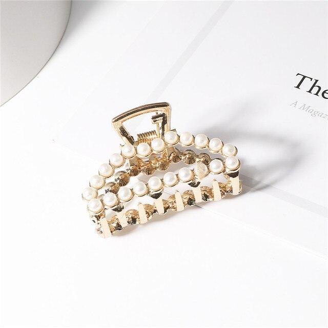 1Pc Geometric Pearl Hair Clip Crab Claw For Women Girls Hollw Rhinestone Metal Hair Clamp Heart Fashion Hair Accessorie