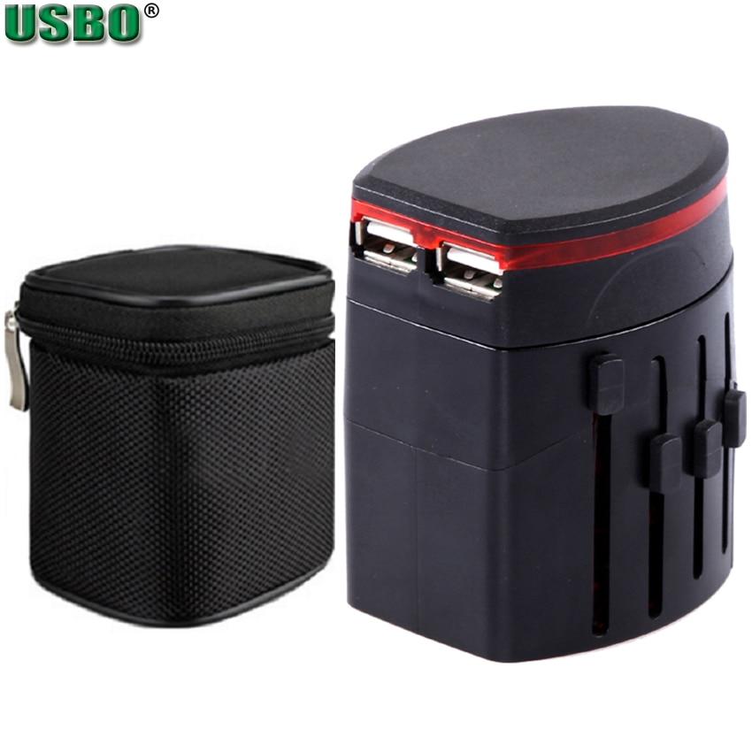 Universal International Plug Adapter 5v 2.1A 1A 2 USB Port World Travel AC Power Charger Adaptor With AU US UK EU Converter Plug