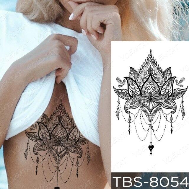 Waterproof Temporary Tattoo Sticker Chest Lace Henna Mandala Flash Tattoos Wolf Diamond Flower Body Art Arm Fake Tatoo Women Men 2