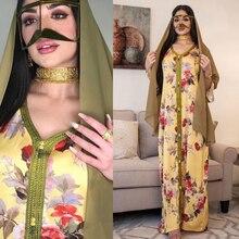 AB077 Dropshipping Elegant Plus Size Dress Yellow Floral Abaya 2021 Woman Muslim Female Jalabiya Arabic Clothes World Apparel