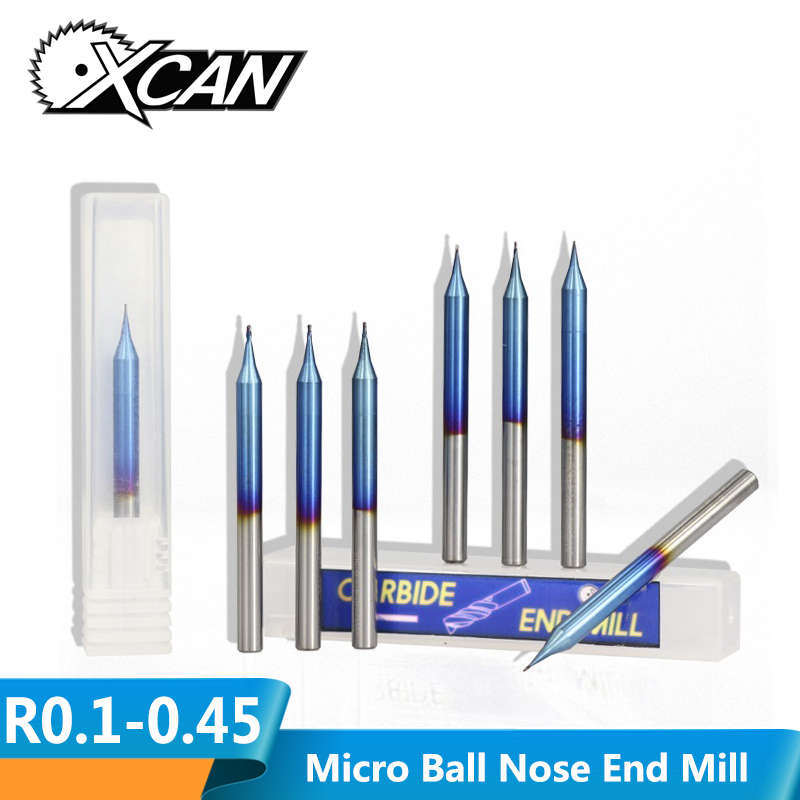 XCAN 1pc R0.1-R0.45 Micro Ball Nose End Mill Nano Blue Coated CNC Milling Cutter 2 Flutes Micro Carbide Milling Bit