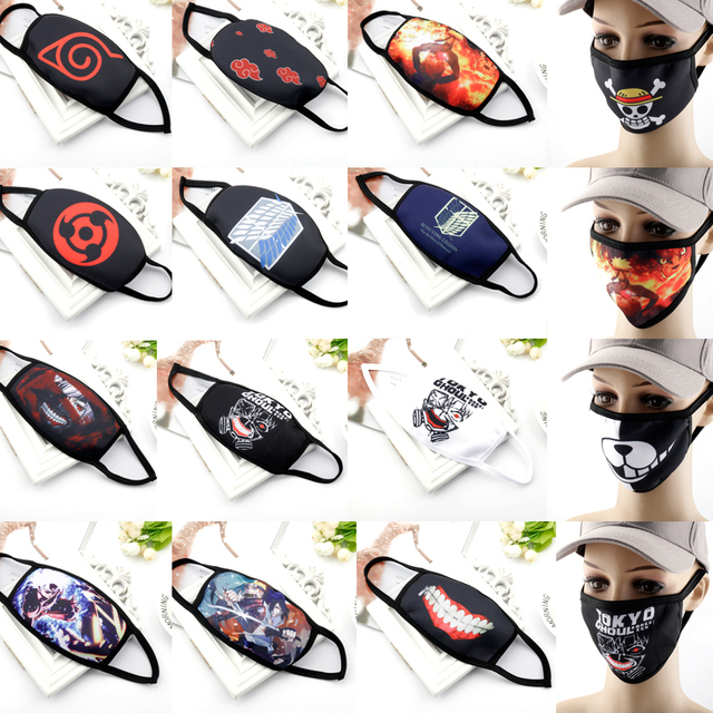 Anime Printed Mask Naruto/Tokyo Ghoul/Attack on Titan Mask Reusable Face Shield Breathable mask