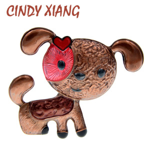 CINDY XIANG Enamel Dog Brooch Cute Puppy Brooches For Women New Design Fashion Animal Jewelry 2 Colors Choose