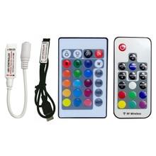 цена на DC 5V 12V 24V 3 17 24 Key LED IR RF RGB Wireless Remote Dimmer USB Led Strip Lights Controler For RGB SMD 3528 5050 LED Strip