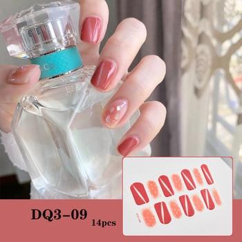 14pcs/sheet Glitter Gradient Color Nail Stickers Nail Wraps Full Cover Nail Polish Sticker DIY Self-Adhesive Nail Art Decoration 64