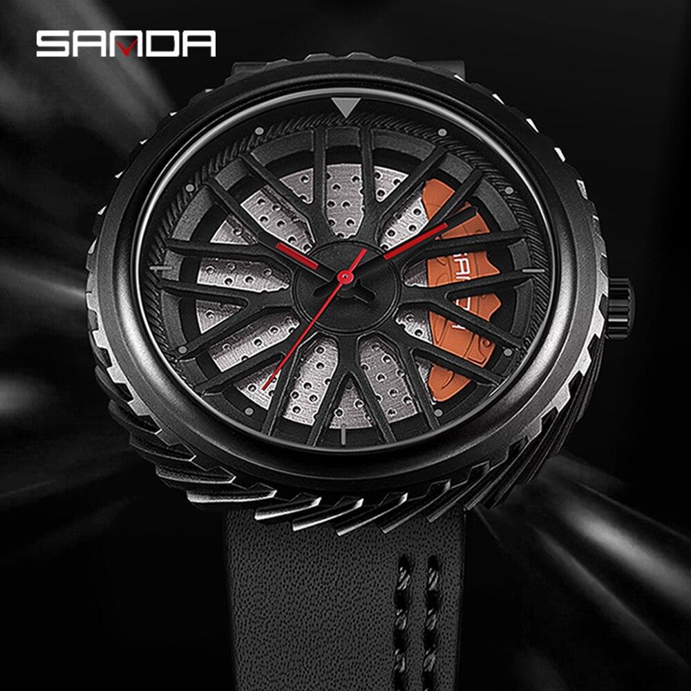 Regalos Para Hombre Wheels Stainless Steel 360 rotation Creative Custom Rims Men Sport Car Character Watch Men Pagani Design(China)