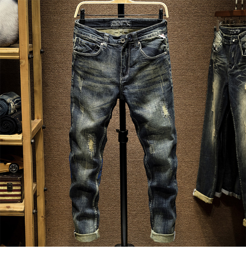 KSTUN Ripped Jeans Men Slim Fit Stretch Printed Fashion Designer Streetwear Male Denim Pants Frayed Vintage Moto Biker Jeans Men 11