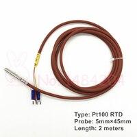 1x PT100 Temperatur Sensor 5mm * 45mm RTD Sonde 3 Draht 2m Silikon Gel Beschichtete Platin Widerstand wasserdicht Öl Beweis