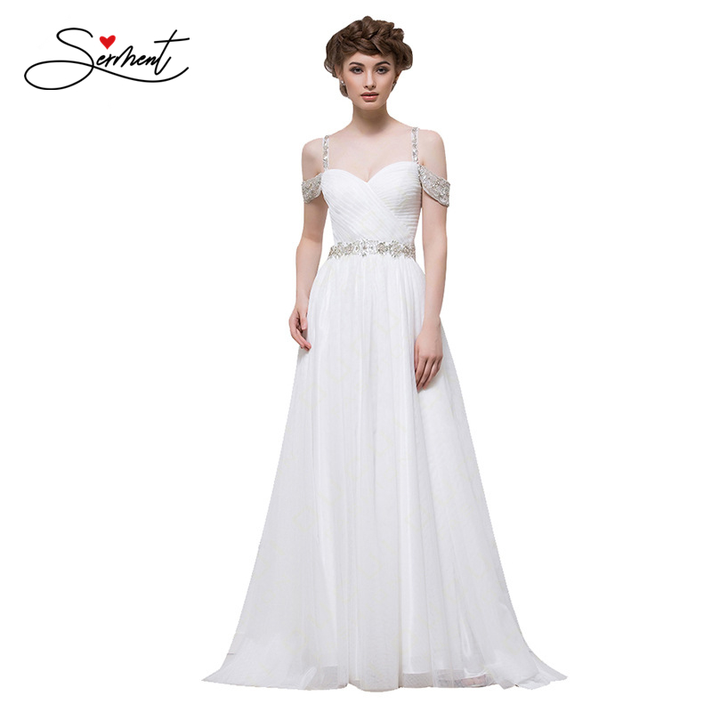 Simple Lace Garden Beach Bride Wedding Dress Off The Shoulder Backless Suitable for Church Beach Garden Wedding