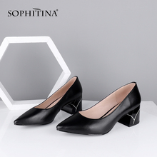 SOPHITINA Special Design Pumps High Quality Sheepskin Shallow Comfortable Square Heel New W