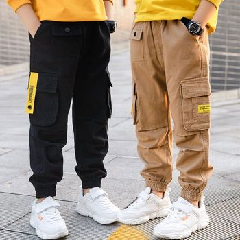 EACHIN chłopięce spodnie chłopięce spodnie Cargo nastolatki dziecięce ubrania chłopięce bawełniane spodnie dresowe kombinezony dziecięce w pasie długie spodnie tanie i dobre opinie COTTON CN (pochodzenie) Proste Chłopcy Malowane Pełnej długości Pasuje prawda na wymiar weź swój normalny rozmiar