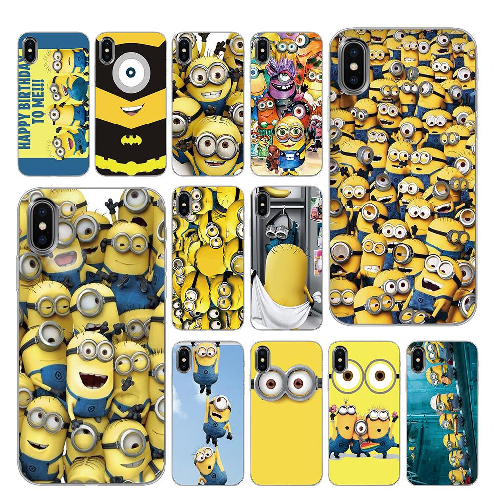 Funny <font><b>3D</b></font> Minions cartoon <font><b>Silicone</b></font> Phone <font><b>Cases</b></font> for <font><b>iPhone</b></font> 5 5S SE 6 6s 7 8 Plus <font><b>X</b></font> XS Max XR Back Cover image