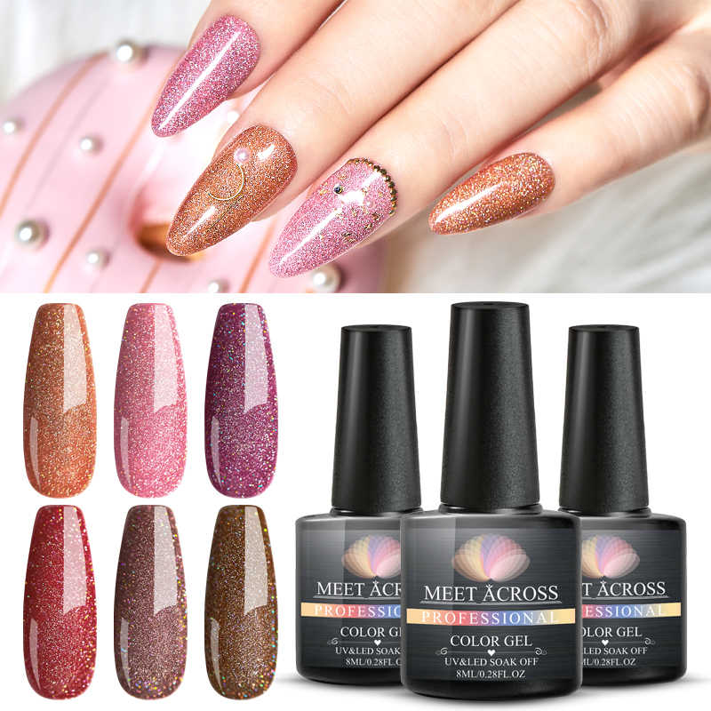 Bertemu Di Glitter Kuku Gel Polandia Semi Permanen Payet Sinar UV Gel Manicure Rendam Off Mengkilap Nail Art Gel Lacquer Varnish