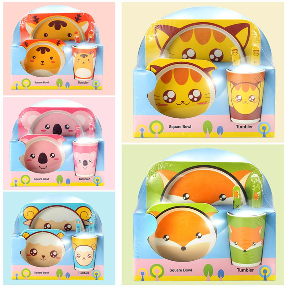 Cartoon Baby Bowl+spoon+fork Feeding Food Tableware Cartoon Bear Kids Dishes Eating Dinnerware Anti-hot Training Dinner Plate