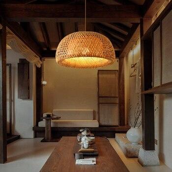 Nordic Pendant Lamp  Wooden Pendant Weaving Bamboo Hanging Lamp Retro Garden Restaurant Study Bedroom Living Room Lamp lightIing 3