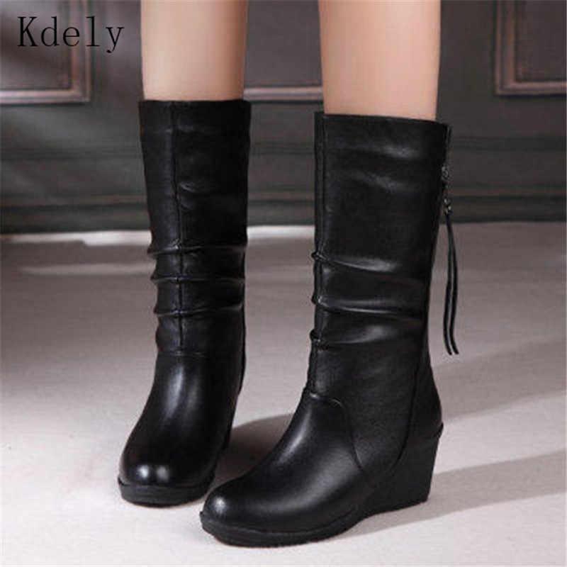 Winter Stiefel Warme Frauen Stiefel Keil Mitte Wade Stiefel Frauen Schuhe Mode Mutter Schuhe Leder Stiefel Runde Kappe Damen Schuhe halten