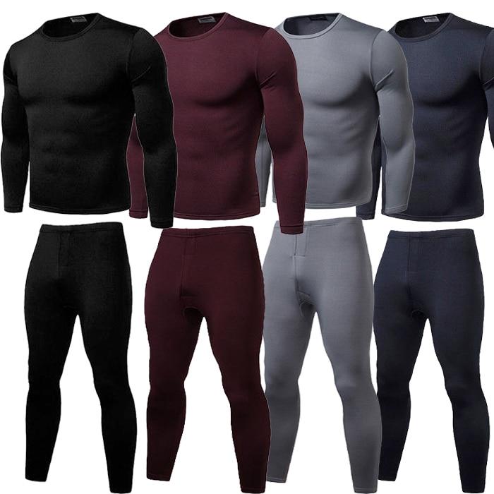 High Quaility Brand New Mens Winter Ultra-Soft Fleece Lined Thermal Top Bottom Long John Underwear Set