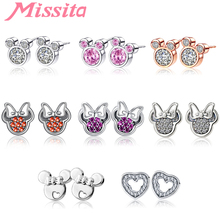 MISSITA 100% 925 Sterling Silver Lovely Minnie Earrings for Women Jewelry Brand Stud Anniversary Party Gift