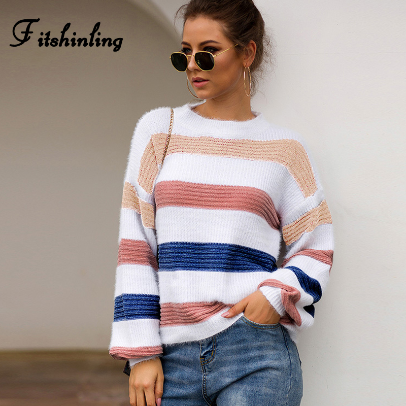 Fitshinling 2019 Winter Fashion Striped Sweaters Pullovers Women Clothing Multicolor Pull Femme Long Sleeve Knitted Jumper Sale